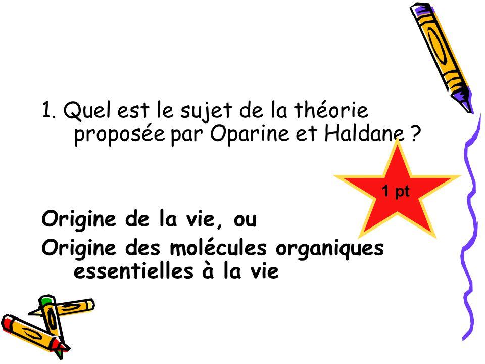 1. Quel est le sujet de la théorie proposée par Oparine et Haldane