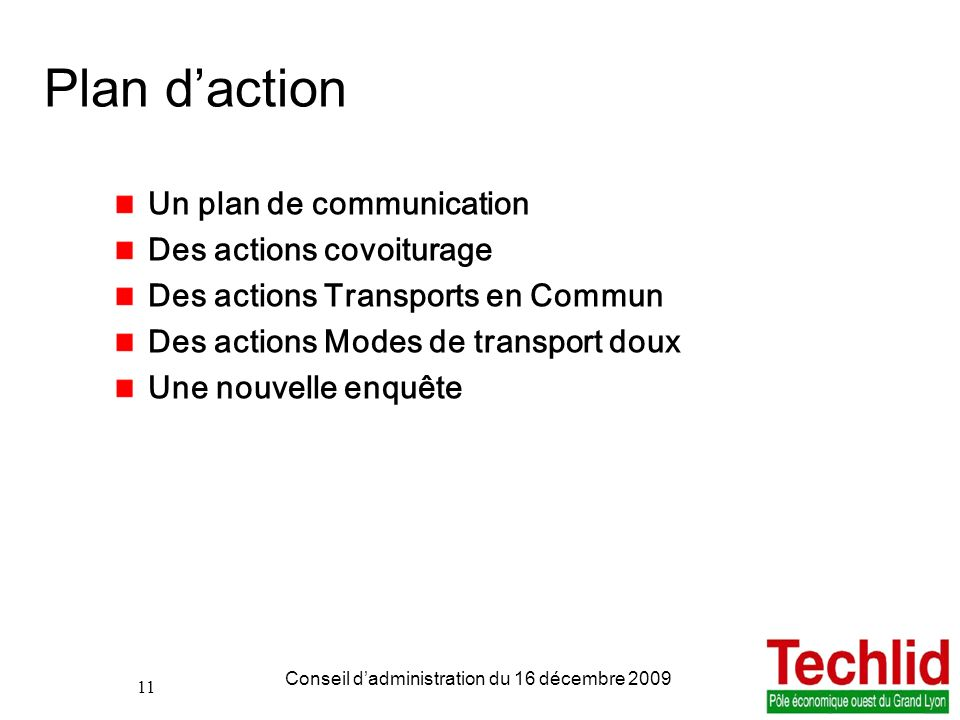 Plan d'action Un plan de communication Des actions covoiturage
