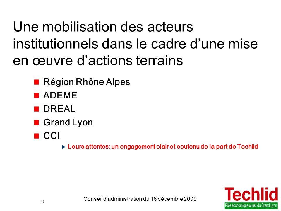 Une mobilisation des acteurs institutionnels dans le cadre d'une mise en œuvre d'actions terrains