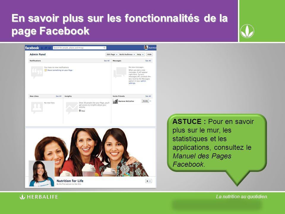 En savoir plus sur les fonctionnalités de la page Facebook