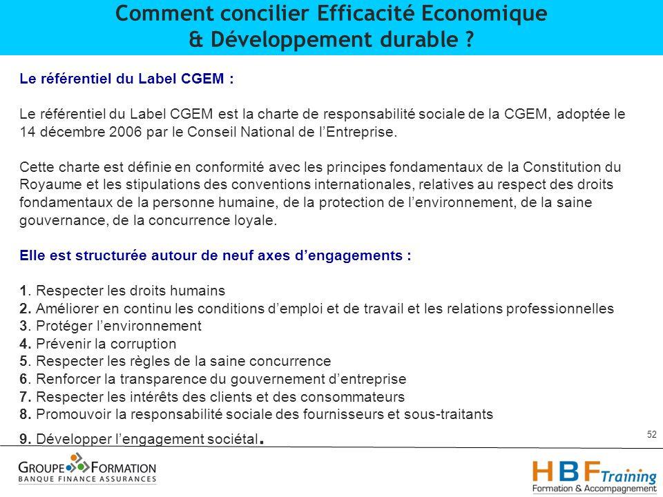 Comment concilier Efficacité Economique & Développement durable
