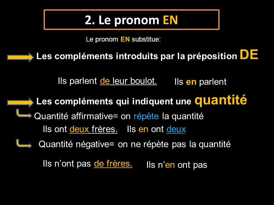 2. Le pronom EN Les compléments introduits par la préposition DE