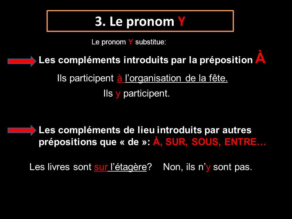 3. Le pronom Y Les compléments introduits par la préposition À