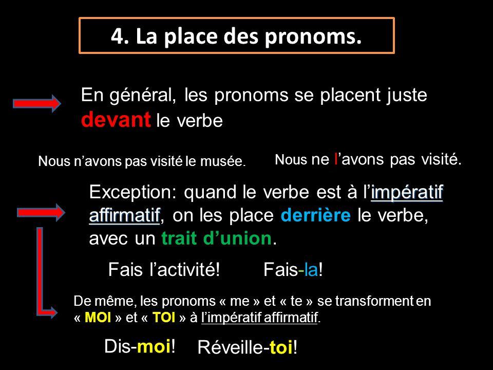 4. La place des pronoms. En général, les pronoms se placent juste devant le verbe. Nous ne l'avons pas visité.