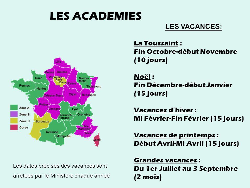 LES ACADEMIES LES VACANCES: La Toussaint : Fin Octobre-début Novembre