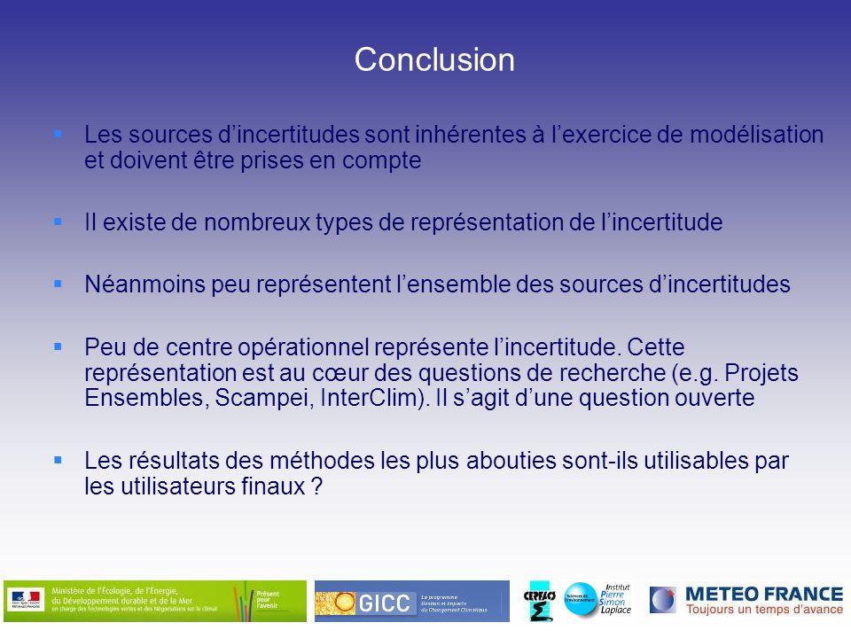 Conclusion Les sources d'incertitudes sont inhérentes à l'exercice de modélisation et doivent être prises en compte.