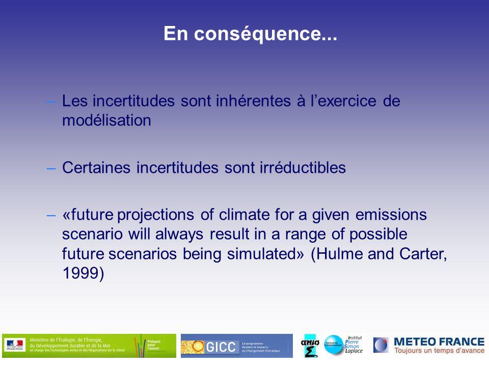 En conséquence... Les incertitudes sont inhérentes à l'exercice de modélisation. Certaines incertitudes sont irréductibles.