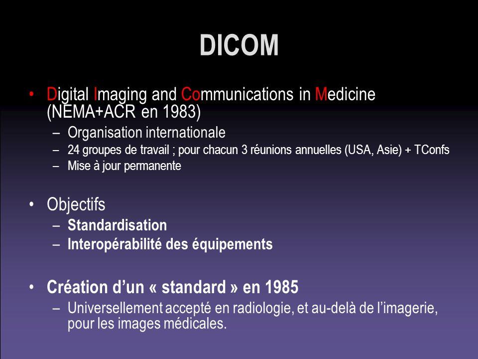 DICOM Digital Imaging and Communications in Medicine (NEMA+ACR en 1983) Organisation internationale.