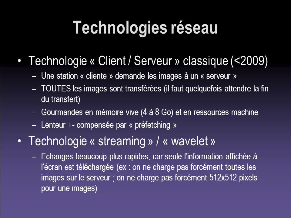 Technologies réseau Technologie « Client / Serveur » classique (<2009) Une station « cliente » demande les images à un « serveur »