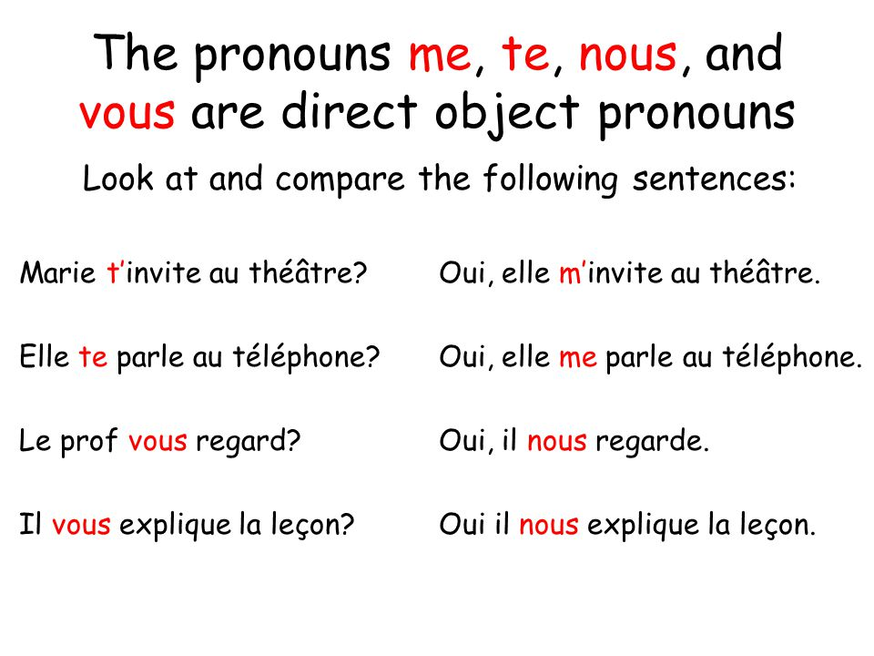 The pronouns me, te, nous, and vous are direct object pronouns