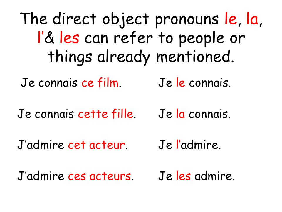 The direct object pronouns le, la, l'& les can refer to people or things already mentioned.