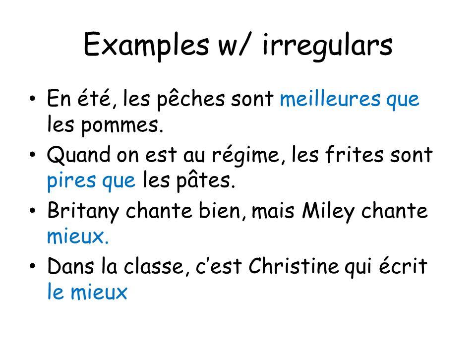Examples w/ irregulars