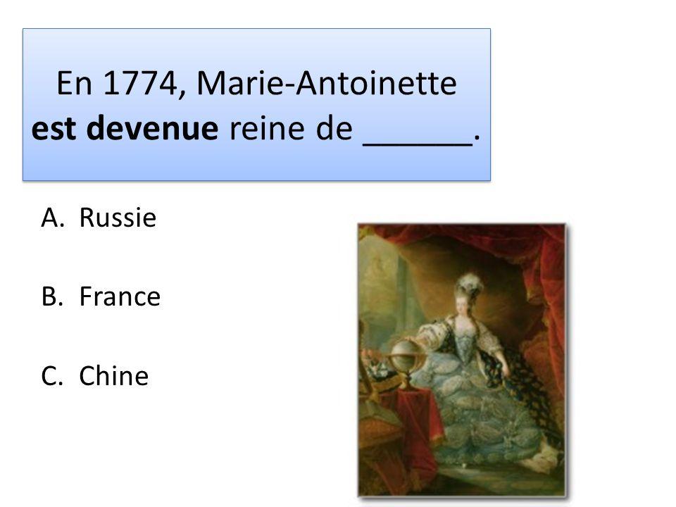 En 1774, Marie-Antoinette est devenue reine de ______.