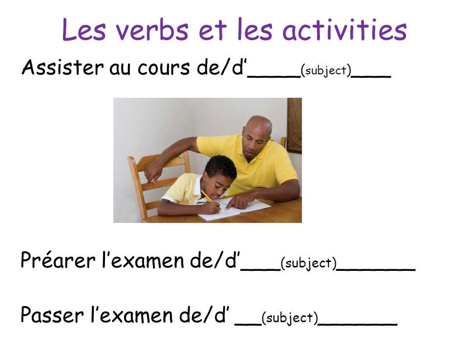 Les verbs et les activities