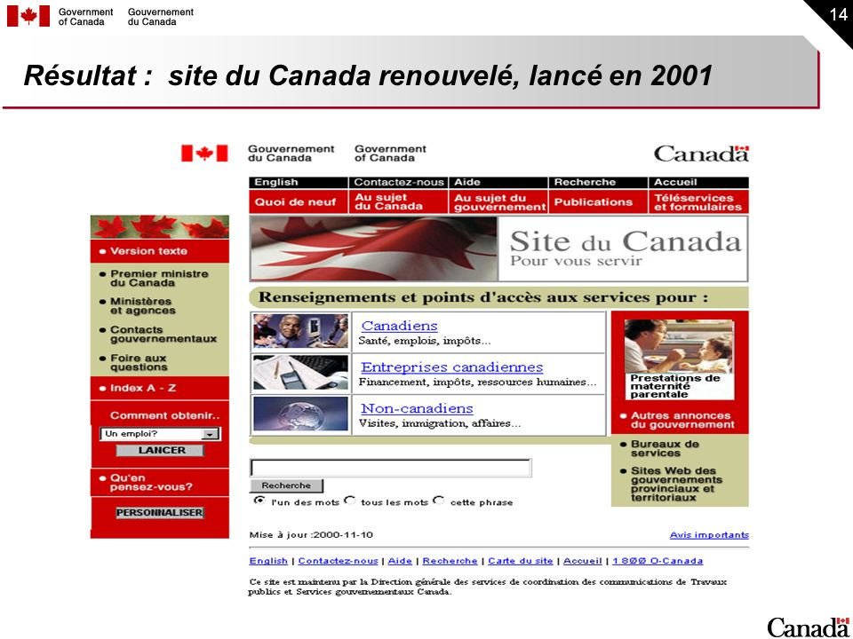 Résultat : site du Canada renouvelé, lancé en 2001