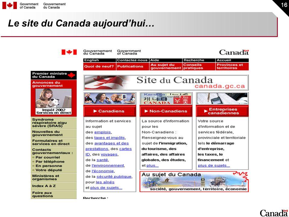 Le site du Canada aujourd'hui…