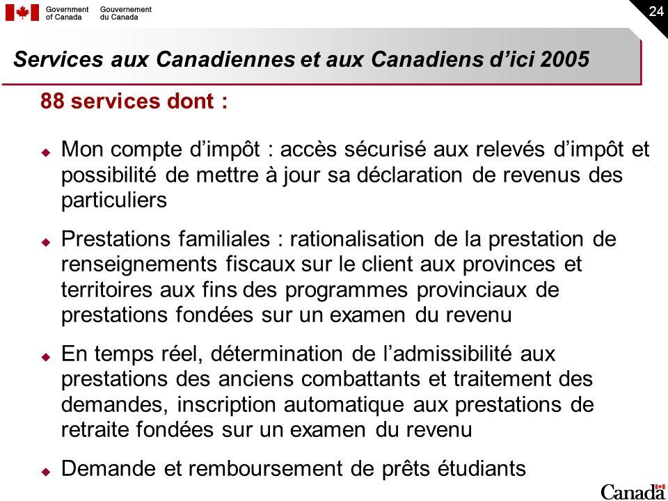 Services aux Canadiennes et aux Canadiens d'ici 2005