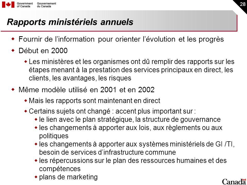 Rapports ministériels annuels