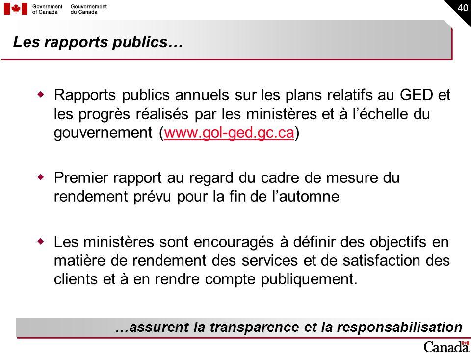 Les rapports publics…