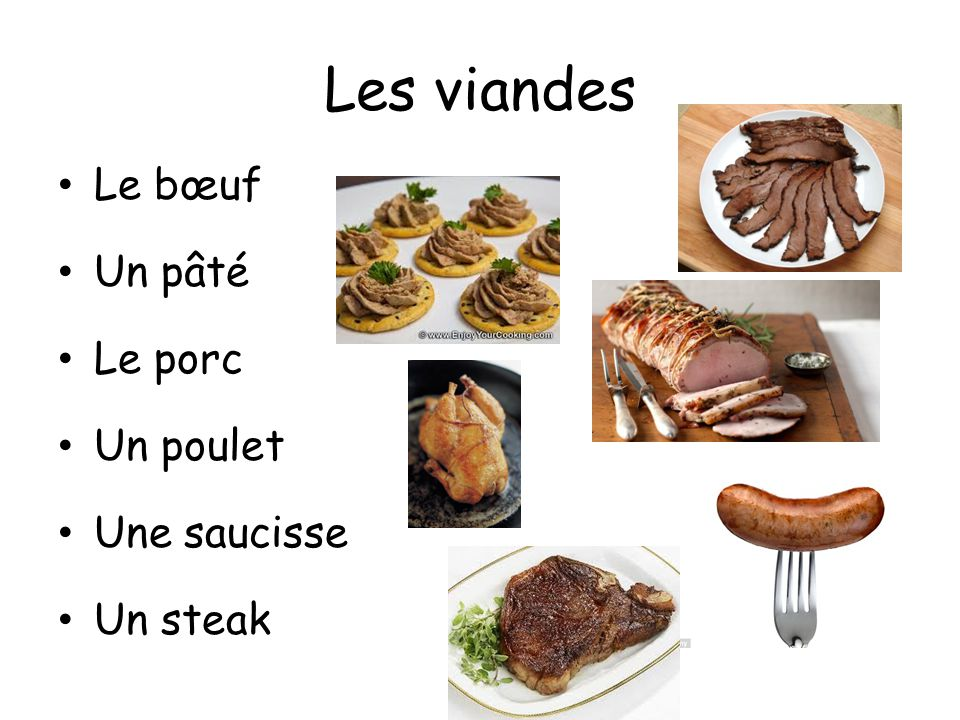 Les viandes Le bœuf Un pâté Le porc Un poulet Une saucisse Un steak