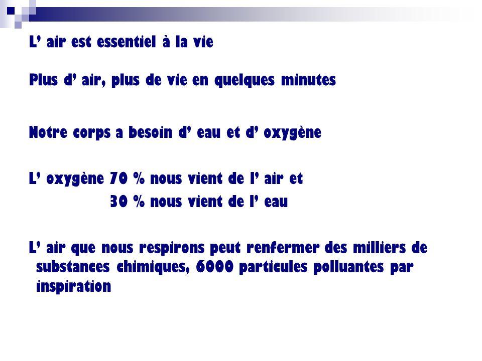 L' air est essentiel à la vie Plus d' air, plus de vie en quelques minutes