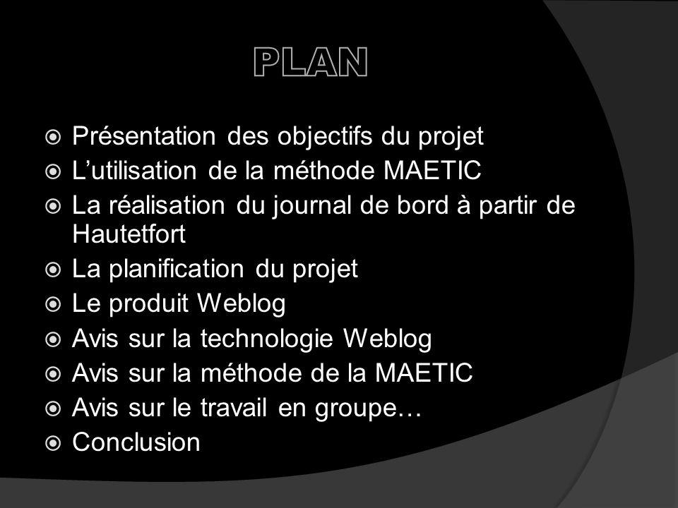 PLAN Présentation des objectifs du projet