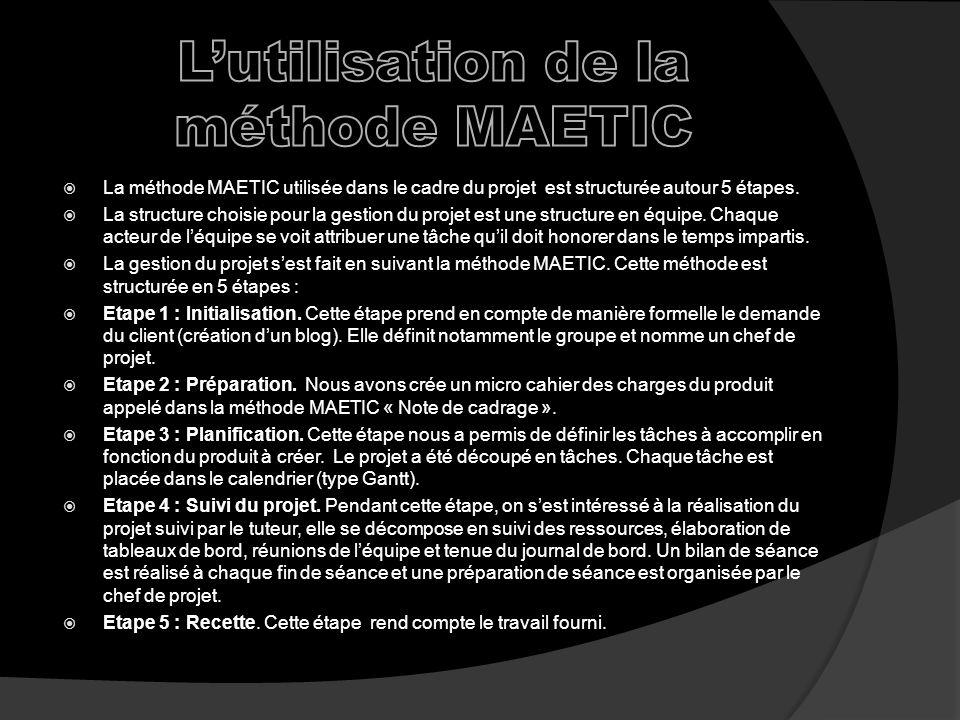 L'utilisation de la méthode MAETIC