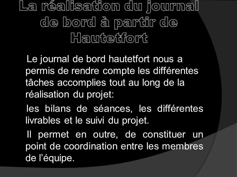 La réalisation du journal de bord à partir de Hautetfort