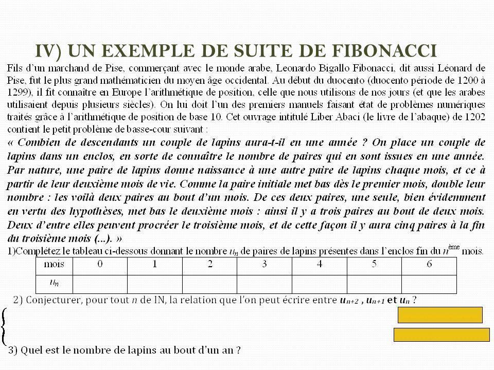 IV) UN EXEMPLE DE SUITE DE FIBONACCI