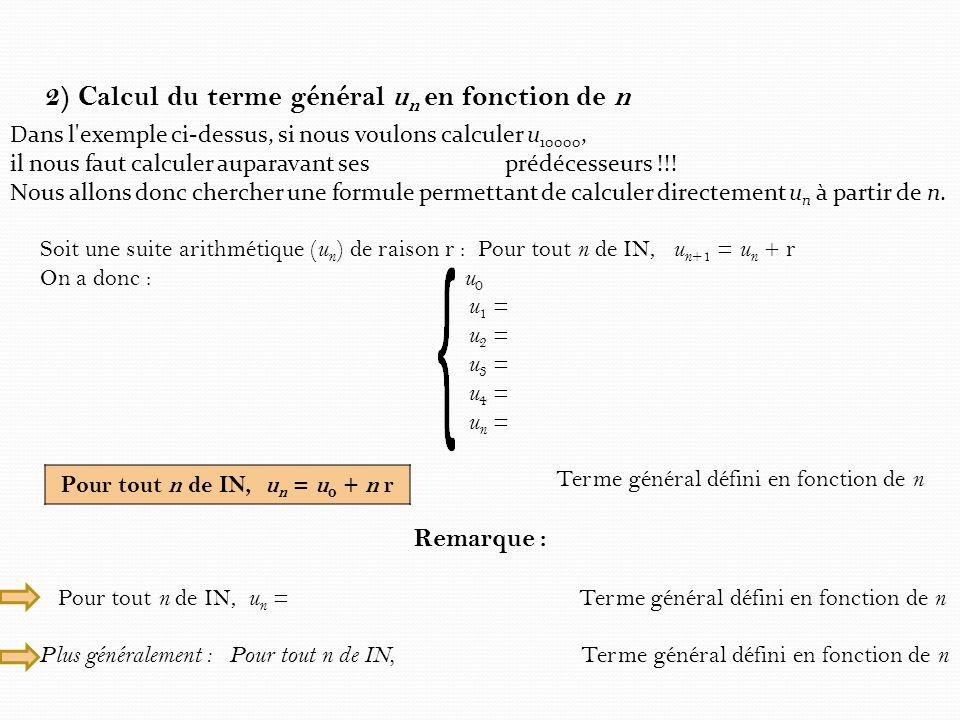 2) Calcul du terme général un en fonction de n