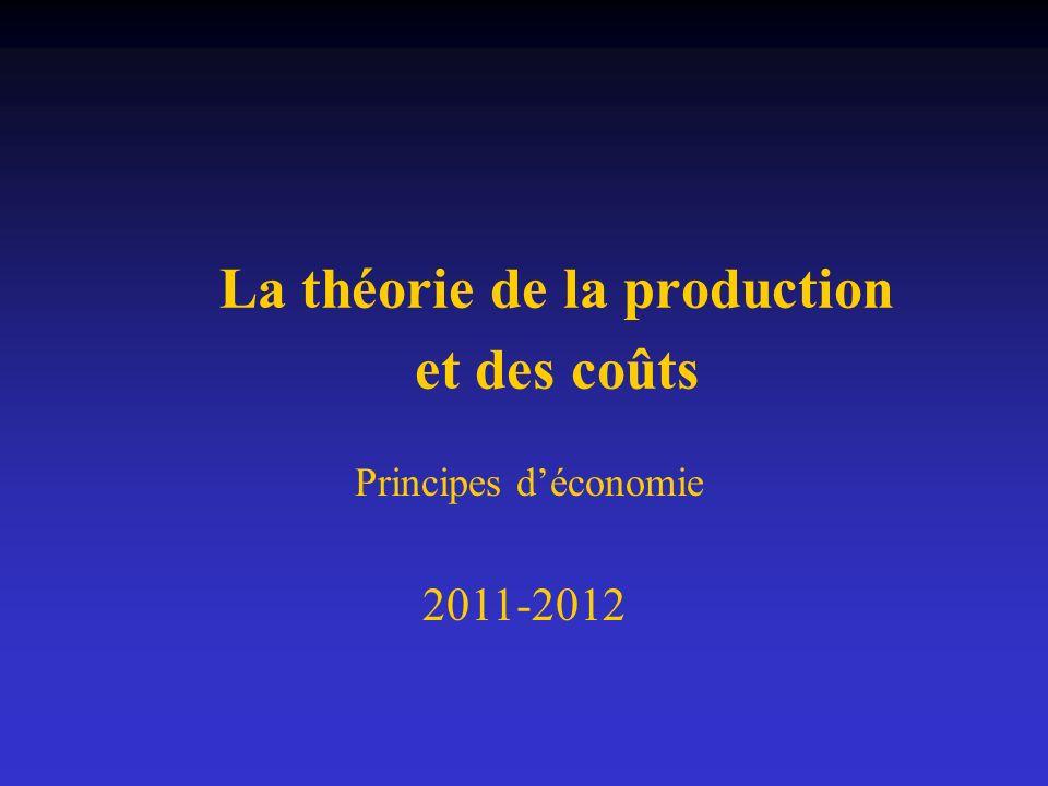 La théorie de la production et des coûts