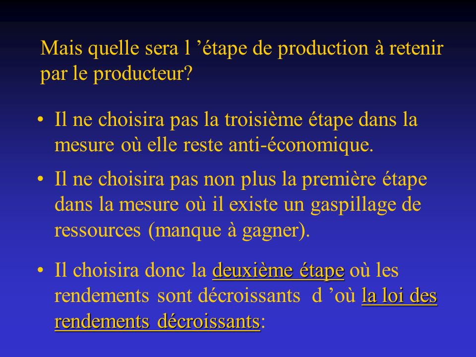 Mais quelle sera l 'étape de production à retenir par le producteur