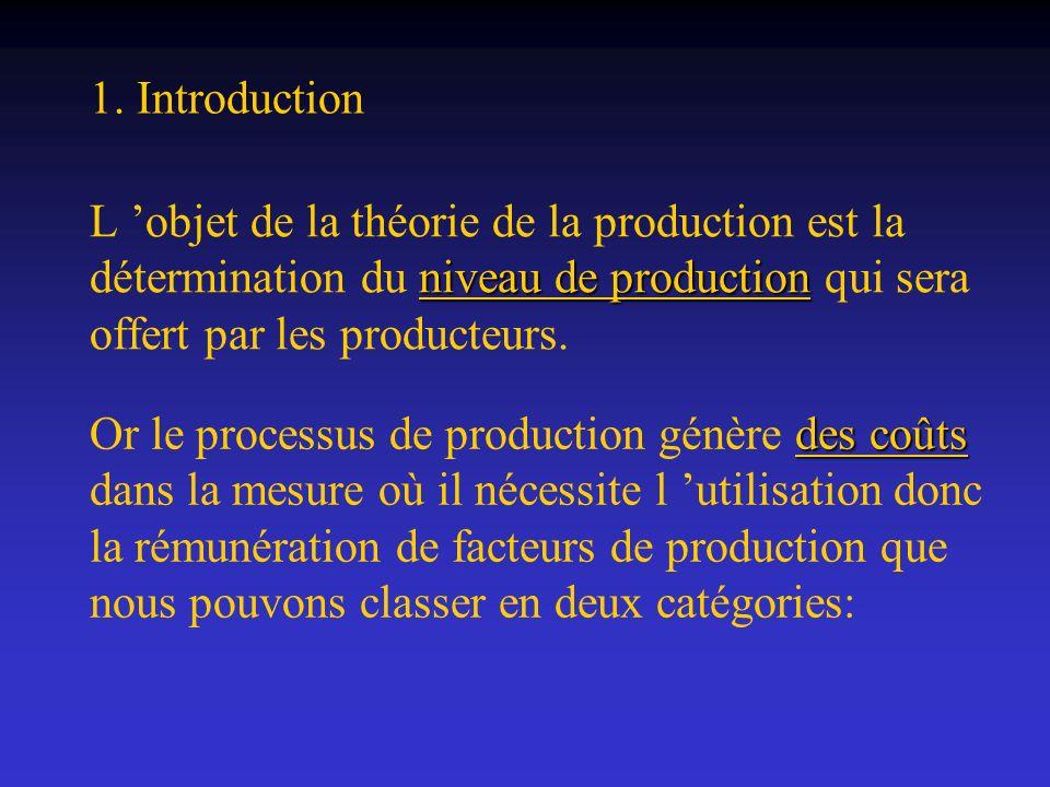 1. IntroductionL 'objet de la théorie de la production est la détermination du niveau de production qui sera offert par les producteurs.