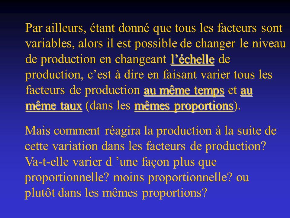 Par ailleurs, étant donné que tous les facteurs sont variables, alors il est possible de changer le niveau de production en changeant l'échelle de production, c'est à dire en faisant varier tous les facteurs de production au même temps et au même taux (dans les mêmes proportions).