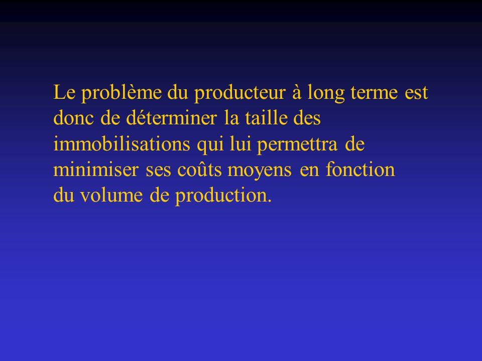 Le problème du producteur à long terme est donc de déterminer la taille des immobilisations qui lui permettra de minimiser ses coûts moyens en fonction du volume de production.