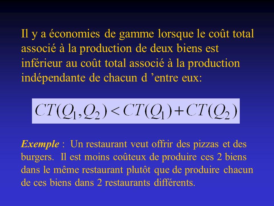 Il y a économies de gamme lorsque le coût total associé à la production de deux biens est inférieur au coût total associé à la production indépendante de chacun d 'entre eux: