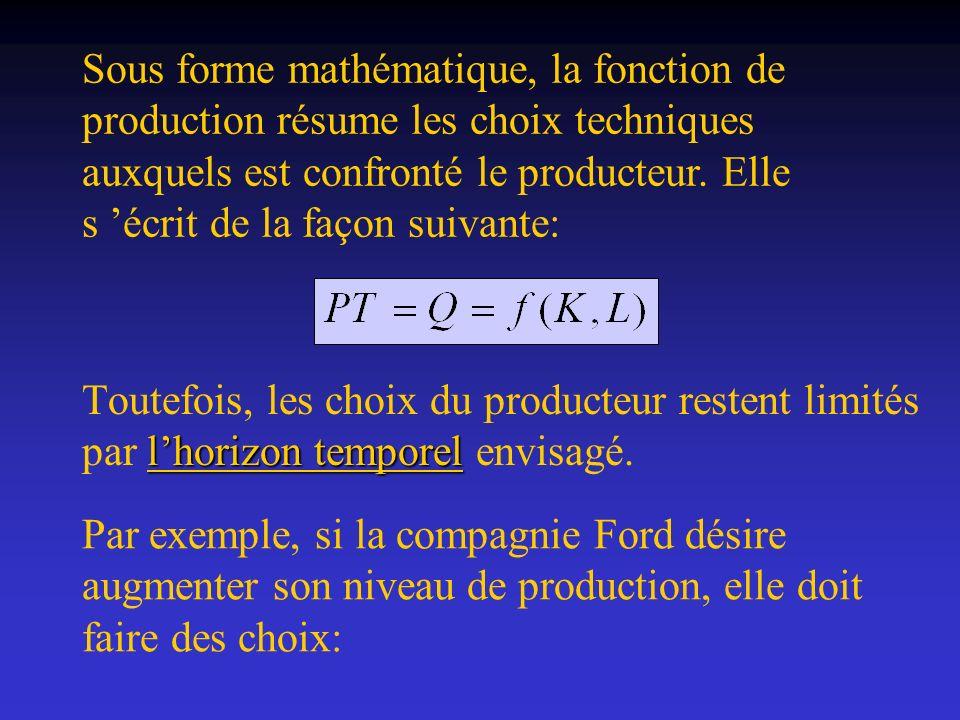 Sous forme mathématique, la fonction de production résume les choix techniques auxquels est confronté le producteur. Elle s 'écrit de la façon suivante: