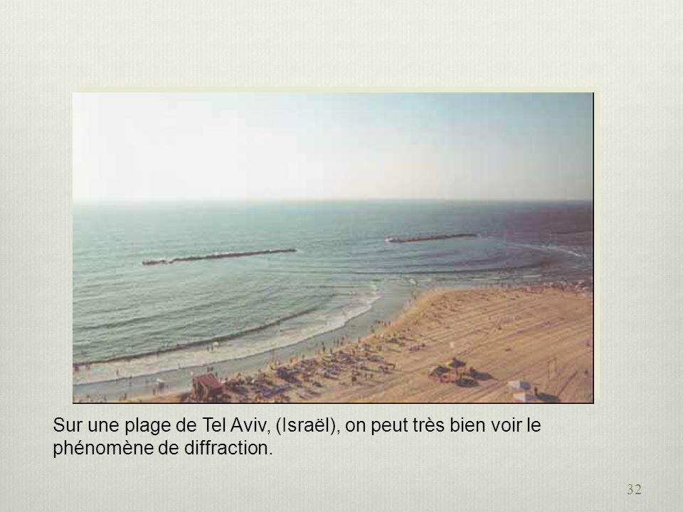 Sur une plage de Tel Aviv, (Israël), on peut très bien voir le phénomène de diffraction.