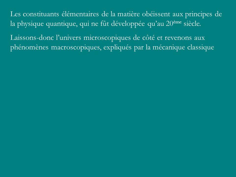 Les constituants élémentaires de la matière obéissent aux principes de la physique quantique, qui ne fût développée qu'au 20ème siècle.