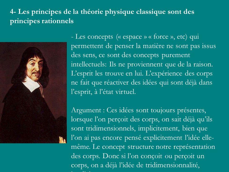 4- Les principes de la théorie physique classique sont des principes rationnels