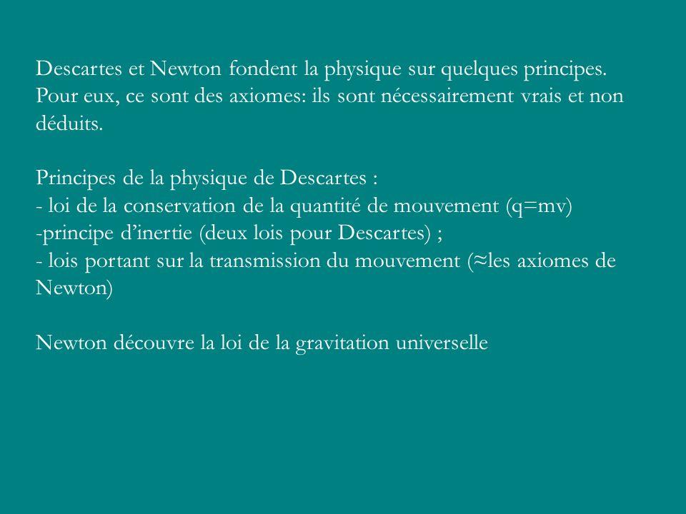 Descartes et Newton fondent la physique sur quelques principes.