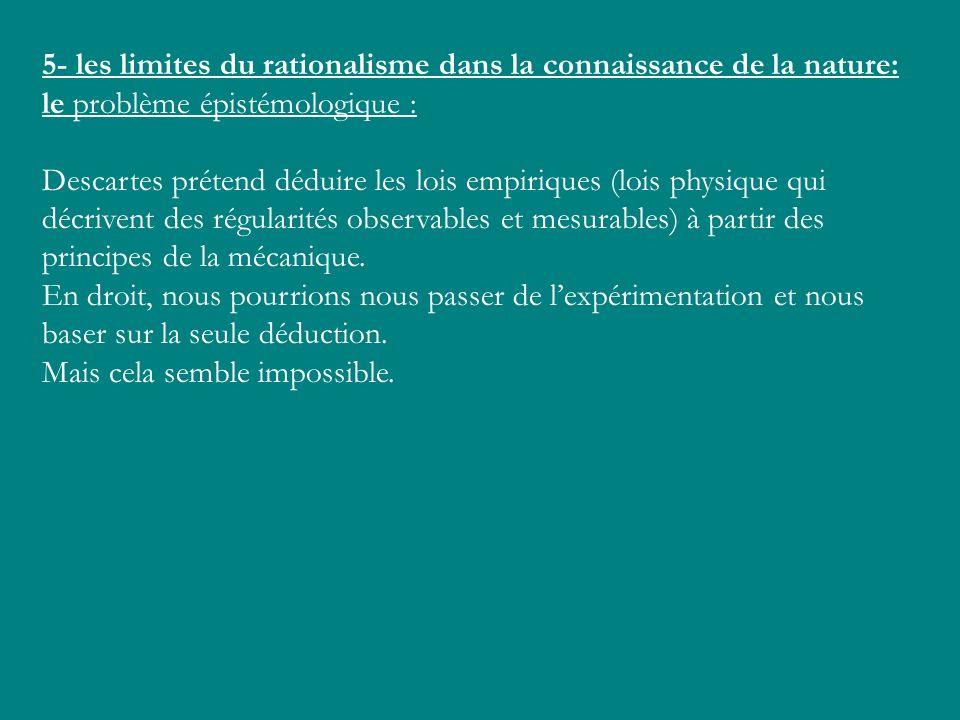 5- les limites du rationalisme dans la connaissance de la nature: le problème épistémologique :