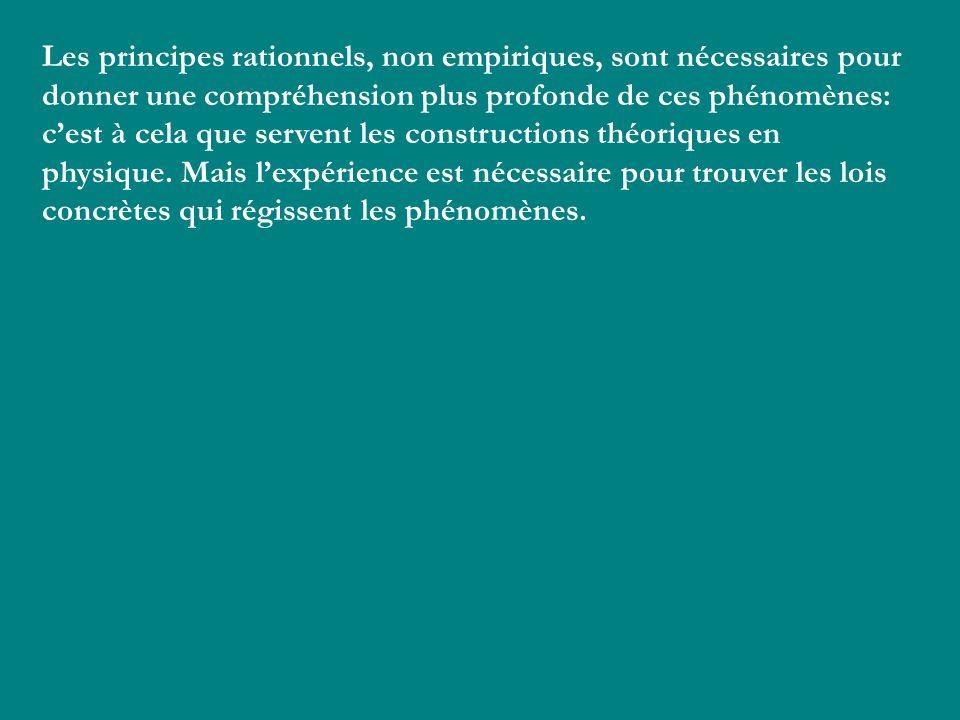 Les principes rationnels, non empiriques, sont nécessaires pour donner une compréhension plus profonde de ces phénomènes: c'est à cela que servent les constructions théoriques en physique. Mais l'expérience est nécessaire pour trouver les lois concrètes qui régissent les phénomènes.