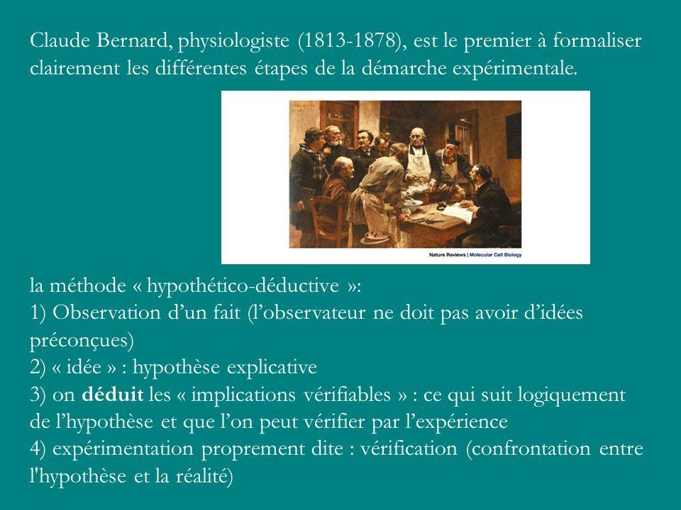 Claude Bernard, physiologiste (1813-1878), est le premier à formaliser clairement les différentes étapes de la démarche expérimentale.