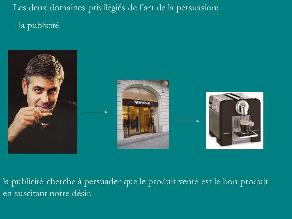 Les deux domaines privilégiés de l'art de la persuasion: