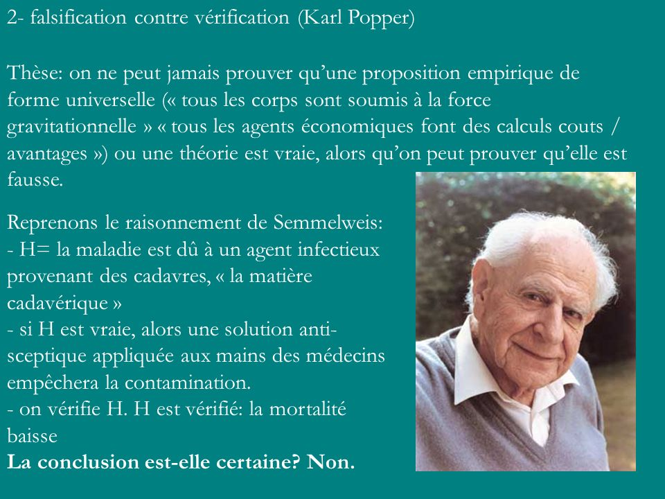 2- falsification contre vérification (Karl Popper)