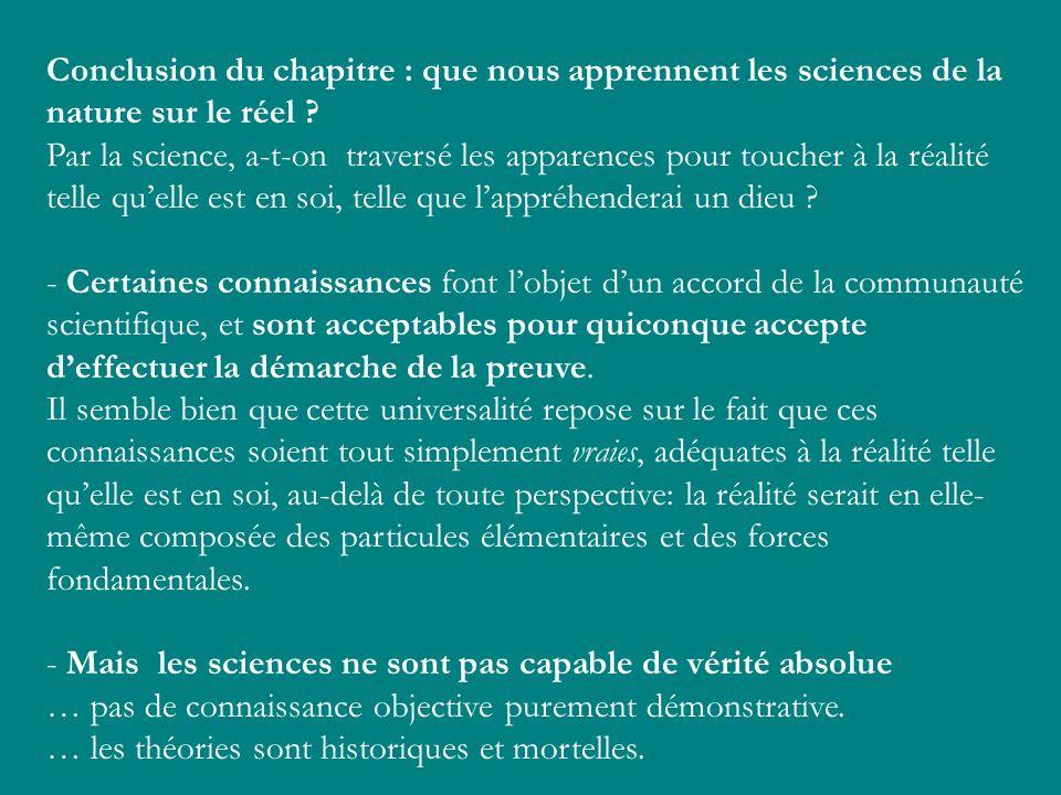 Conclusion du chapitre : que nous apprennent les sciences de la nature sur le réel