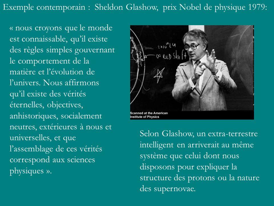 Exemple contemporain : Sheldon Glashow, prix Nobel de physique 1979:
