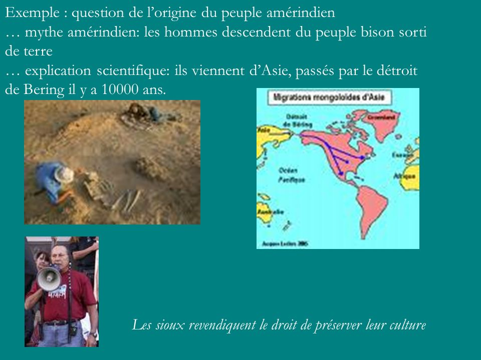 Exemple : question de l'origine du peuple amérindien