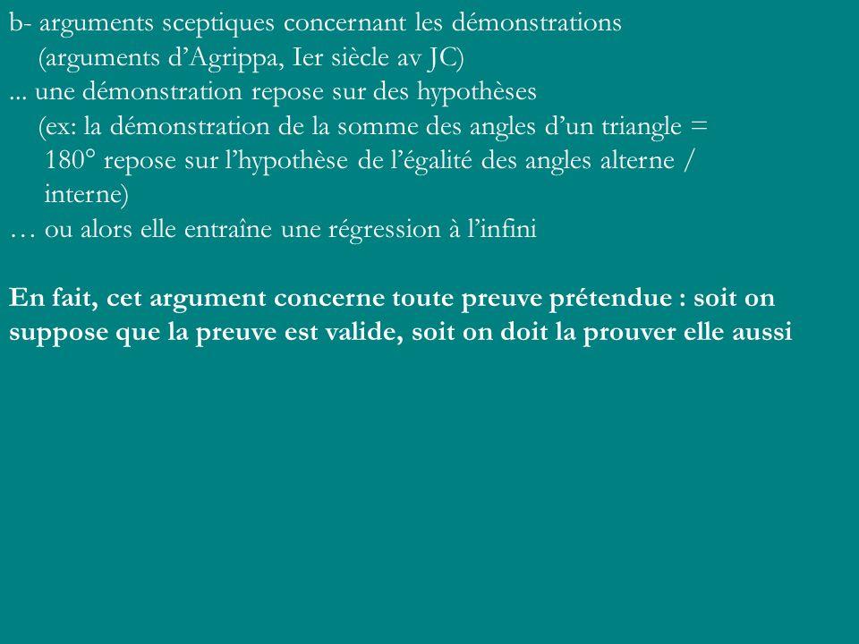 b- arguments sceptiques concernant les démonstrations